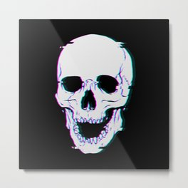 Glitch Skull Metal Print