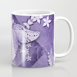Flowers and butterfly with swirling fractal Coffee Mug
