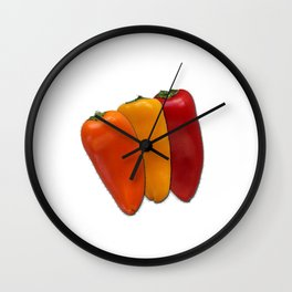 Vibrant peppers Wall Clock