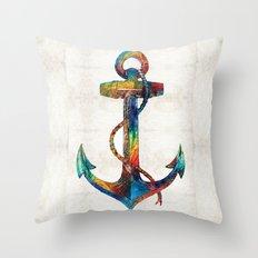 Nautical Anchor Art - Anchors Aweigh - By Sharon Cummings Throw Pillow