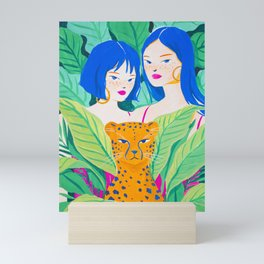 Girls and Panther in Tropical Jungle Mini Art Print