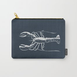 White lobster on navy Carry-All Pouch