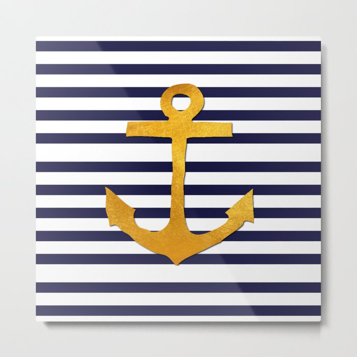 Marine pattern- blue white striped with golden anchor Metal Print