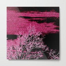 Etched Pink tRees Metal Print