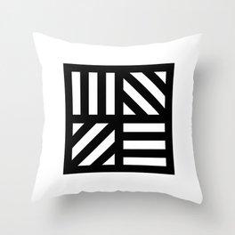 Black white stripey window pattern Throw Pillow