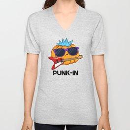 Punk-in Cute Rocker Pumpkin Pun Unisex V-Neck