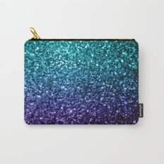 Beautiful Aqua blue Ombre glitter sparkles Carry-All Pouch