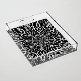 Floral Black and White Mandala Acrylic Tray