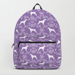 Brittany Spaniel dog breed floral silhouette dog gifts spaniel lovers Backpack
