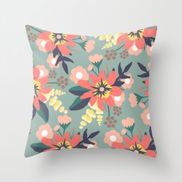 Coral and Seafoam Floral Print Throw Pillow