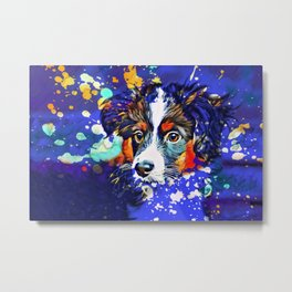 Abstractly Australian Shepherd Metal Print