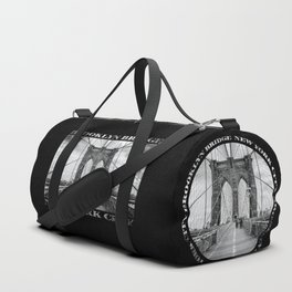 Brooklyn Bridge New York City (black & white with text on black) Duffle Bag