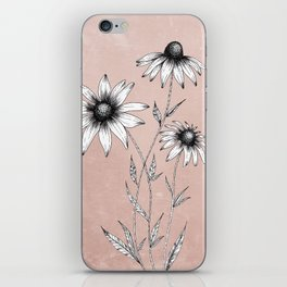 Wildflowers Ink Drawing | Dusty Pink iPhone Skin