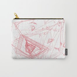 Mountain Vertices, Coral Pink Geometric Carry-All Pouch