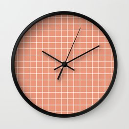 Dark salmon - pink color - White Lines Grid Pattern Wall Clock