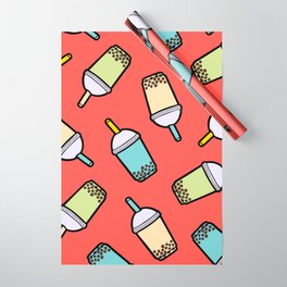 Bubble Tea Pattern in Red Wrapping Paper
