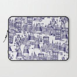 Doctor Who Toile de Jouy | 'Walking Doodle' | Blue Laptop Sleeve