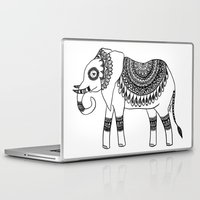henna Laptop & iPad Skins featuring Henna Elephant by Julie Erin Designs