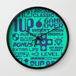 Arcade Game Text Interface Graphics - Green Wall Clock
