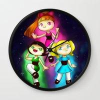 powerpuff girls Wall Clocks featuring Powerpuff girls by Lyxy