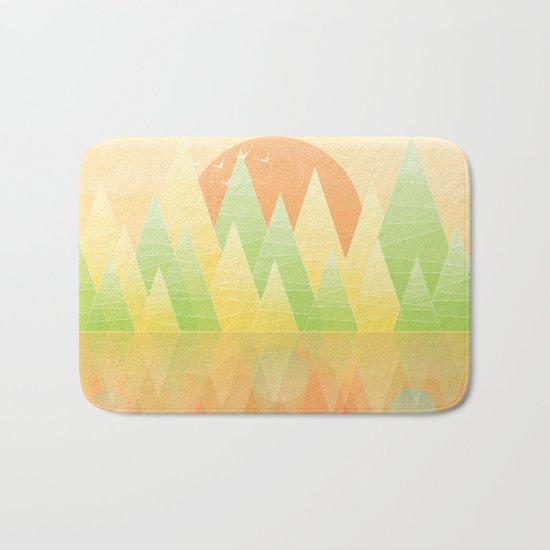Geometric Lake Mountain II - Summer Bath Mat