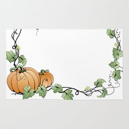 Frame with pumpkins and leaves Rug