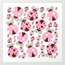 Ladybugs (Ladybirds, Lady Beetles) - Pink Brown Art Print