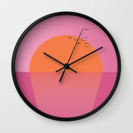 Sunset travel poster print cartoon Wall Clock