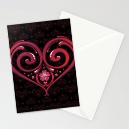 Dark Pink Love Heart art with flowers Stationery Cards