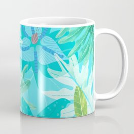 My blue abstract Aloha Tropical Flower Jungle Garden Coffee Mug