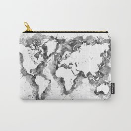Watercolor splatters world map in grayscale Carry-All Pouch