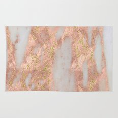 Rose Gold Marble with Yellow Gold Glitter Rug