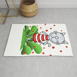 Cat and red bubbles Rug