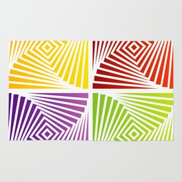 Colorful Squares twirling from the Center. Optical Illusion of PerspectiveColorful Squares twirling Rug