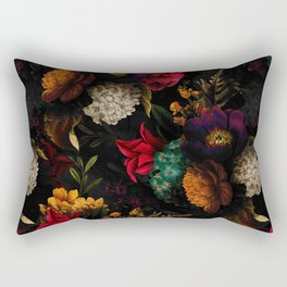 Midnight Hours Dark Vintage Flowers Garden Rectangular Pillow