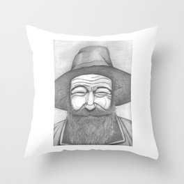 Bearded Man in Hat Throw Pillow