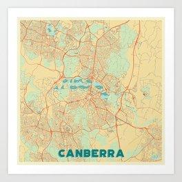 Canberra Map Retro Art Print