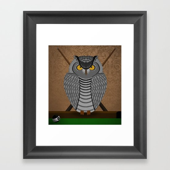 owl playing billiards Framed Art Print