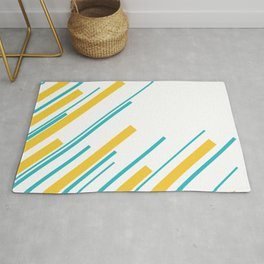 Diagonals - Turquoise and Yellow Rug