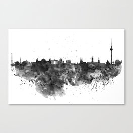 Black and white Berlin watercolor skyline Canvas Print