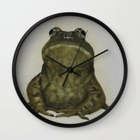 frog Wall Clocks featuring frog by Diane Nicholson