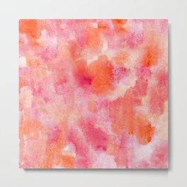 red orange abstract watercolor daubs Metal Print