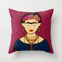 frida kahlo Throw Pillows featuring Frida Kahlo by evannave
