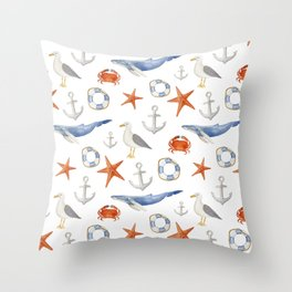 Watercolor nautical pattern Throw Pillow