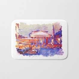 The Pantheon Rome Watercolor Streetscape Bath Mat