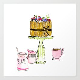 Watercolor Of Charlotte French Cake With Coffee Art Print