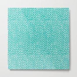 Hand Knit Aqua Metal Print