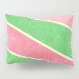 Pink and Green Diagonal Stripes Pillow Sham