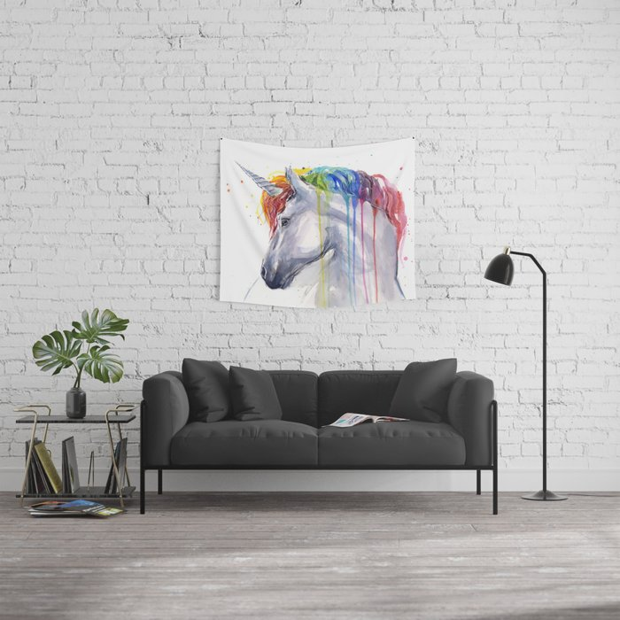 Rainbow Unicorn Watercolor Animal Magical Whimsical Animals Wall Tapestry