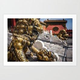 Forbidden City Bronze Lions Art Print